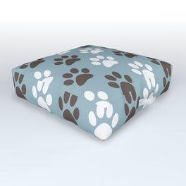 Animal Paw Print Pattern Blue Outdoor Floor Cushion