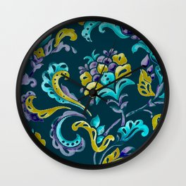 Scroll - Hand Painted Teal Ground Wall Clock