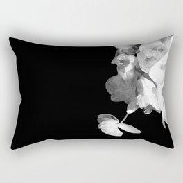 White Orchids Black Background Rectangular Pillow