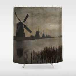 Windmills at Kinderdijk Holland Shower Curtain