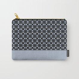Black Square Petals Graphic Design Pattern  on PPG Paint Rendezvous Blue Carry-All Pouch