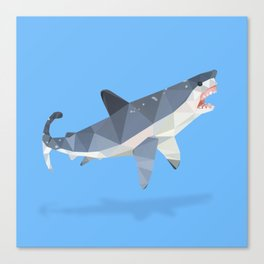 Low Poly Great White Shark Canvas Print