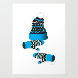 Knitted Geometry, blue Art Print