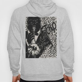 Thank You, Pops, Louis Armstrong Jazz Trumpet Black and White Block Print Hoody