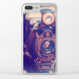 Preserving the Past a digital photograph of a vintage folding camera Clear iPhone Case