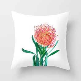 Pincushion protea flower Throw Pillow