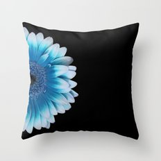colored summer ~ blue and black gerbera  Throw Pillow