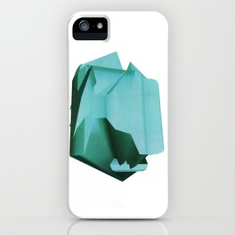 3D turquoise flying object  iPhone Case