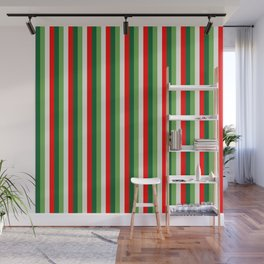 Green, Star White And Red Clover Pinstripes Wall Mural