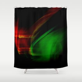 Green on Red Shower Curtain