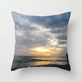 Walk into the sunset.. Throw Pillow