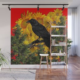 CROW & SUNFLOWERS WILDERNESS RED ART Wall Mural