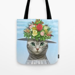 A cat wearing a flower hat Tote Bag