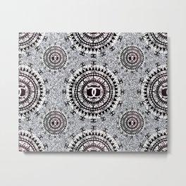 Silver Glitter Black and White Designer Mandala Textile Metal Print