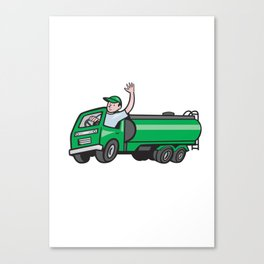 6 Wheeler Tanker Truck Driver Waving Cartoon Canvas Print