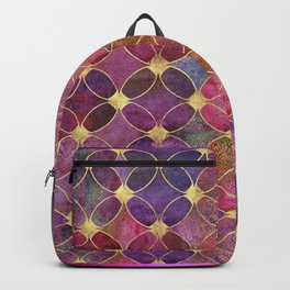 Informe Abstracta Burgundy Abstract Pattern Golden Rings Design Backpack