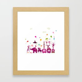 colorful circus carnival traveling in one row on white background Framed Art Print