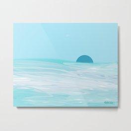 Dark Blue Moon Over A Mint Green Sea Metal Print