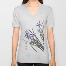 Blue Iris Orchid One Unisex V-Neck