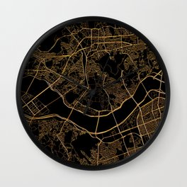 Black and gold Seoul map Wall Clock