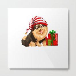 Christmas theme with cute dog and present Metal Print