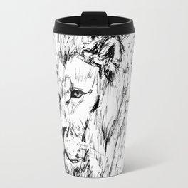 Black & White Lion drawing Travel Mug
