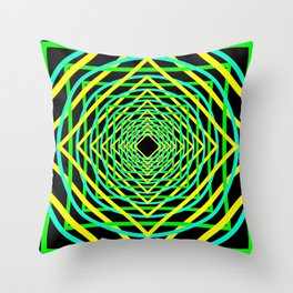 Diamonds in the Rounds Blacklight Neons Yellow Greens Throw Pillow