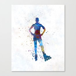 Woman in roller skates 02 in watercolor Canvas Print