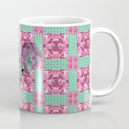 Pink and Green Dinosaur Skull Pattern Quilt Coffee Mug