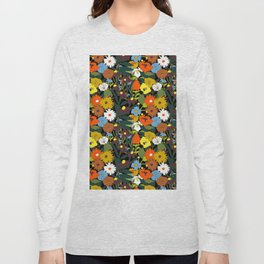 60's Swamp Floral in Midnight Black Long Sleeve T-shirt