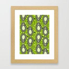 Bears and flowers in green Framed Art Print
