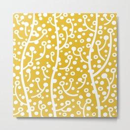 Mid Century Modern Spring Blossoms Mustard Yellow Metal Print