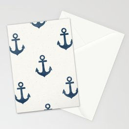 Seamless Pattern Nautical Navy Anchor Blue Color White Background Sea Ocean Theme Stationery Cards