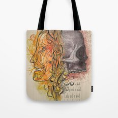 Lady and a skull Tote Bag