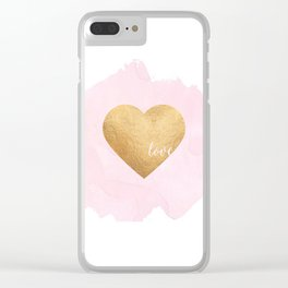 GOLD HEART PRINT, Hot Pink,Gold Foil,Heart Print,Printable Art,Love Sign,Love Quote,Love Art,Girls R Clear iPhone Case