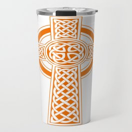 St Patrick's Day Celtic Cross Orange and White Travel Mug