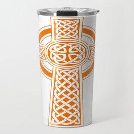 St Patrick's Day Celtic Cross Orange and White Travel Mug