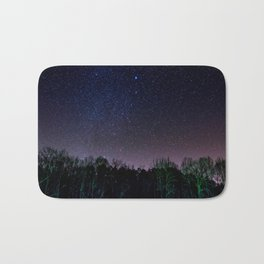 Star Night Sky Purple Hes With Forest Silhouette Bath Mat
