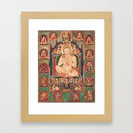 Portrait of Jnanatapa Attended by Lamas and Mahasiddhas 14th Century Framed Art Print