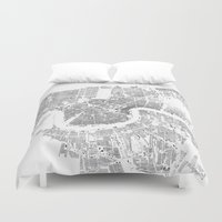 new orleans Duvet Covers featuring NEW ORLEANS by Maps Factory