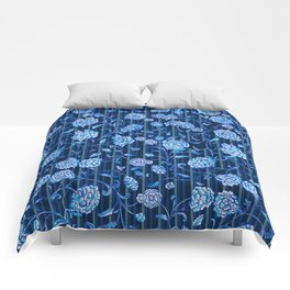 Blue & White Florals by Fanitsa Petrou Comforters