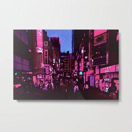 Neon nightlife street digital oil photo edit Metal Print