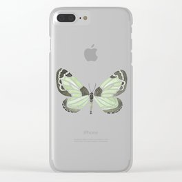 Green Grass Spring Butterfly Clear iPhone Case