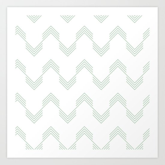 Deconstructed Chevron in Pastel Cactus Green on White Art Print