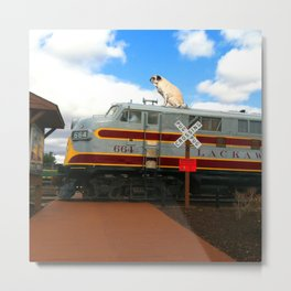 Pug on a Train Metal Print