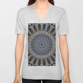 Detailed mandala in grey and brown tones Unisex V-Neck