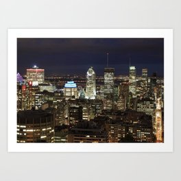 Montreal Canada Quebec City Skyline by night Art Print
