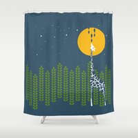 giraffe Shower Curtains featuring Giraffe by Steph Dillon