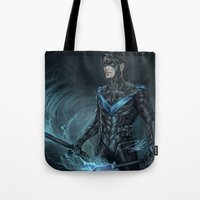 nightwing Tote Bags featuring Nightwing by Veradia