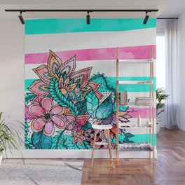Floral watercolor modern pink teal stripes Wall Mural